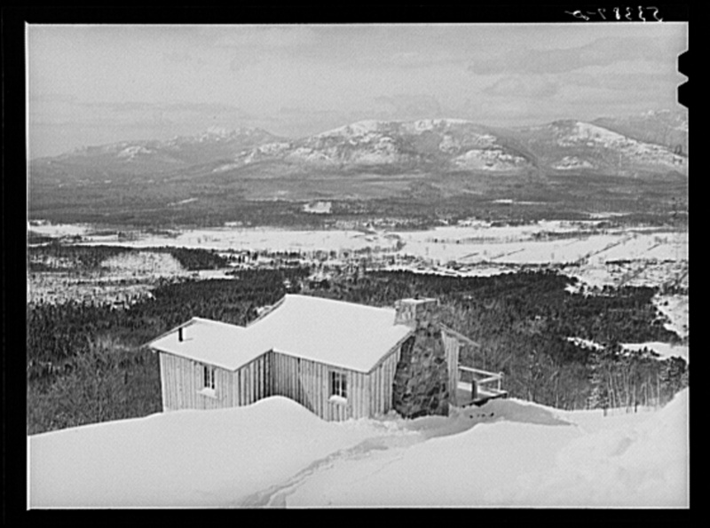 North Conway, New Hampshire, and Presidential range of White Mountains in distance. North Conway, New Hampshire